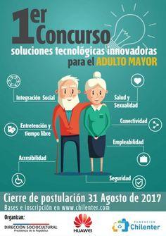 En Chile hay más de 3 millones de adultos mayores sobre los 60 años. Y este concurso apunta a buscar innovaciones 'tech' a sus necesidades. Hasta el 31 de agosto del 2017 se estarán recibiendo las propuestas, que cualquier persona puede presentar, para el primer concurso de soluciones tecnológicas e innovadoras pensando en los adultos …