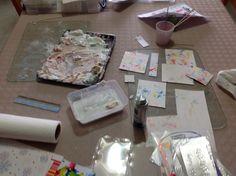 Lyn's work.  Marbling with shaving foam, a la Barbara Gray on YouTube.  She made it look so tidy!