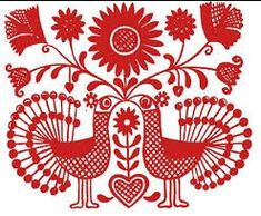 "Hungarian bird motif in red on a white background, indicative of the so-called ""written"" style of Hungarian embroidery."
