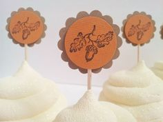 25 Fall Autumn Thanksgiving Acorn Leaf Cupcake Toppers Wedding #Wedding
