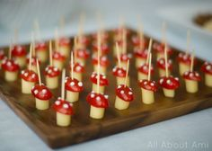 Cheese and tomato appetizers for woodland baby shower theme. They look like toadstool mushrooms!