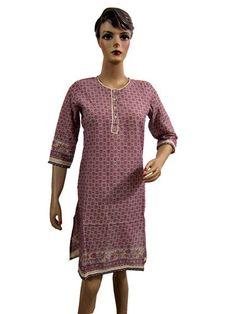 Boho Printed Kurtis India Fashion Kurti Cotton Tunic Tops Dress Pink Kurta Small | eBay $20.99