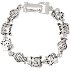 Cat Lovers Meow Womens Polished Silver Tone Kitten Magnetic Clasp Bracelet - http://www.amazon.com/Lovers-Womens-Polished-Magnetic-Bracelet/dp/B00P4JCF0A