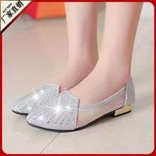 Giày búp bê nữ mũi tròn, gắn đá nổi bật, thời trang nữ tính, trẻ trung