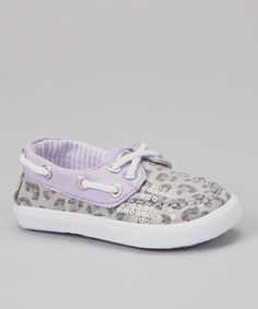 Take a look at this Gray Leopard & Lilac Sequin Boat Shoe on zulily today!