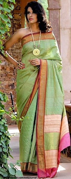 President's Award winning collection from Pranavi Kapur - Sea-green, handwoven Tussar silk with rose coloured tussar border with zari, handcrafted by local artisans.