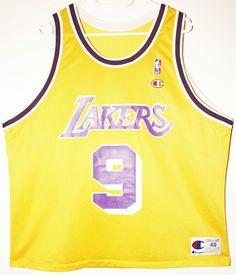 eBay Champion NBA Basketball Los Angeles Lakers 9 Nick Van Exel  TrikotJersey Size 48 ... 978ff8c02