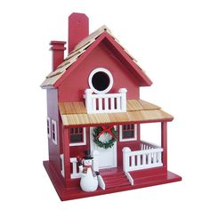 Home Bazaar Christmas Cottage Birdhouse, Red