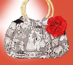 Mis Cositas Bamboo Handle Purse in Papel Picado Print with Red Silk Rose