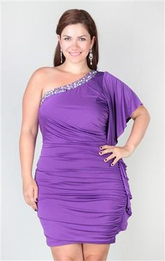 Plus Size One Shoulder Dress with Stone Neckline and Flutter Sleeve