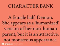 character bank (sounds alot like one of the characters I already have)