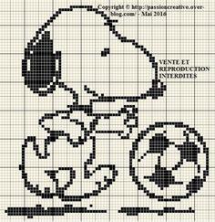 Grille gratuite point de croix : Snoopy joue au foot