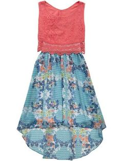 2015 Tween Coral Lace High Low Dress 7 to 16 Years at Cassie's Closet