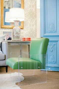 leather and lucite chair. AWESOME! Blueprint Store (Dallas, TX) -via Interior Canvas