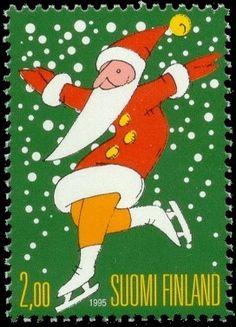 Joulupostimerkki 1995 1/2 - Joulupukki luistimilla