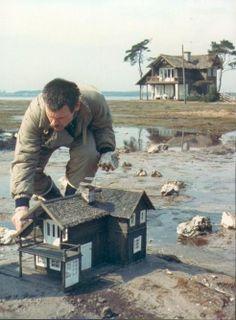 Director Andrei Tarkovsky preps a model house for a scene in 'The Sacrifice'. Tiny World, Miniature Houses, Fairy Houses, Film Stills, Little Houses, Mini Houses, Model Homes, Architecture, Oeuvre D'art