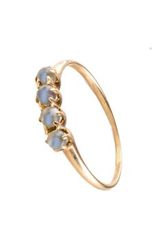 petite Victorian 4 moonstone spheres ring 14k free USA shipping by SearchEndsHere on Etsy