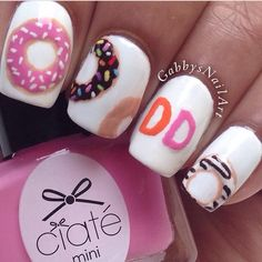 Donut nail art - how cute is this!  Would look adorable around a cup of coffee.