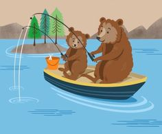 Leading Illustration & Publishing Agency based in London, New York & Marbella. Fathers Day Cards, Happy Fathers Day, Happy Day, Vintage Cards, Vintage Postcards, Bear Fishing, Bear Illustration, Holiday Signs, Daddy