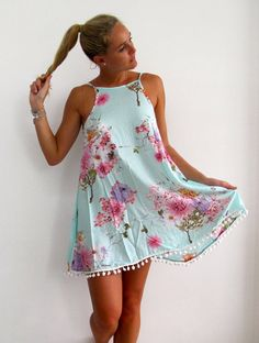 Ladies Swing Dress - Aqua Blossom Print with Pink and White Flower Little Dresses, Cute Dresses, Casual Dresses, Short Dresses, Party Dresses, 50 Fashion, Fashion Dresses, Fashion 2018, Lolita Fashion