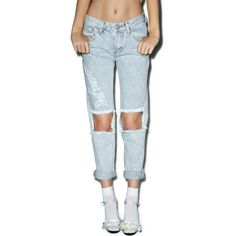 Glamorous Won't Stop Destroyed Boyfriend Jeans featuring polyvore, women's fashion, clothing, jeans, pants, bottoms, cut out boyfriend jeans, ripped jeans, torn boyfriend jeans, blue jeans and boyfriend jeans