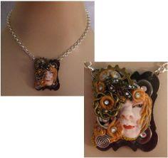 Steampunk Goddess Pendant Necklace Jewelry Handmade NEW Polymer Clay Art