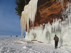 If conditions hold, the mainland Lake Superior sea caves at Meyers Beach will be open for visitors starting Sat Feb 28, 2015. Get the latest info by calling the ice line at (715) 779-3397, ext 3, or by checking the official Apostle Islands Facebook page. All visitors 16 and older will be charged $5 each this year.