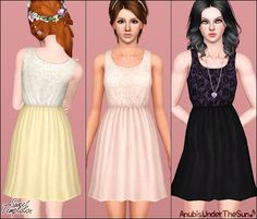 The Sims 3 Female Clothes: Sweet Temptation Lace Dress Custom Content Download