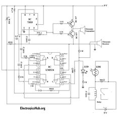 This is an automatic door bell ringing circuit diagram. This circuit will automatically sense the presence of the person and it rings the doorbell. Electronics Projects, Electronic Circuit Projects, Electronics Basics, Electronic Engineering, Electrical Engineering, Tech Updates, Circuit Diagram, Home Automation, Arduino