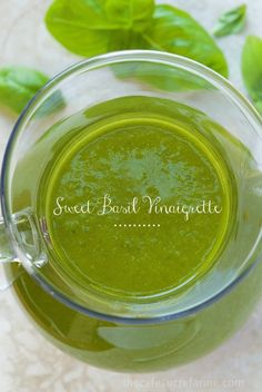 "Sweet Basil Vinaigrette - The most delicious dressing with vibrant basil flavor. If this dressing could talk, it would be shouting, ""summer! Salad Dressing Recipes, Salad Recipes, Vinegrette Salad Dressing, Basil Salad Dressings, Sauces, Basil Recipes, Vegan Recipes, Homemade Dressing, Fresh Herbs"