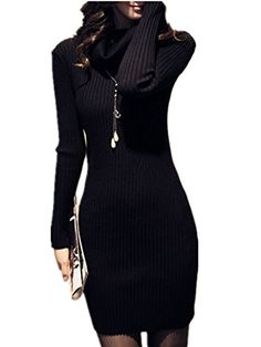 V28® Women Polo Neck Knit Stretchable Elasticity Long Sleeve Slim Sweater Jumper at Amazon Women's Clothing store: