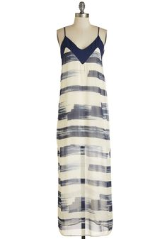 Painterly to Rise Dress. Greet the day in an artful way - by slipping into this ivory maxi dress! #multi #modcloth