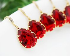 SET of 4 Bridal Earrings Bridesmaid Earrings cubic zirconia ear wires and Siam Red Swarovski Crystal Tear drops Cubic Zirconia Earrings, Swarovski Crystal Earrings, Teardrop Earrings, Bride Earrings, Bridesmaid Earrings, Fantasy Wedding, Red Wedding, October Wedding, Bridal Jewelry
