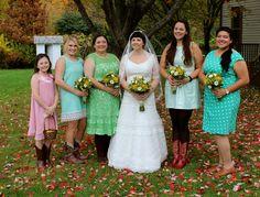 vintage wedding, barn wedding, mismatched bridesmaids, yellow wildflowers, green, pink, yellow
