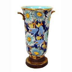 Boch Freres Belgian Art Deco Blue Flowers Vase | From a unique collection of antique and modern vases at http://www.1stdibs.com/furniture/dining-entertaining/vases/