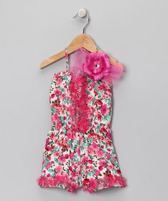 Take a look at this Hot Pink Floral Romper - Toddler & Girls by Mia Belle Baby on #zulily today!
