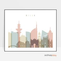 An incredible art print of Milan skyline in these delicate colors brings a calming and sophisticated sense in your space. The sizes are shown in the SIZE drop below the menu and above the ADD TO CART button and they begin from 5x7 inches up to 24x36 inches. My shop ArtPrintsVicky is