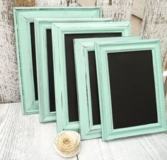 10 MINT SHABBY CHIC Wedding Chalkboard Frames by SoFrickinCute, $85.00