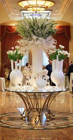 Wedding Ideas for Stunning Tall Centerpieces Tall Wedding Centerpieces, Floral Centerpieces, Flower Decorations, Wedding Decorations, Hotel Flowers, Large Flower Arrangements, Corporate Flowers, Deco Floral, Floral Design