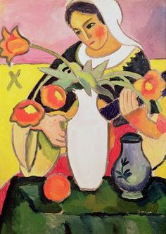 "August Macke -- ""The Lute Player, 1910 "" -- High quality art prints, canvases, postcards, mugs -- Bridgeman Art on Demand"