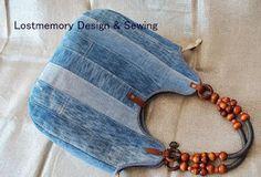 Recycling Jeans bolso jeans pachtiras y manijas c cuentas de madera
