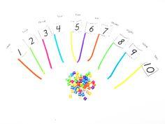 Number and color bead matching flags, fine motor skills Fine Motor Activities For Kids, Toddler Learning Activities, Classroom Activities, Fun Learning, Children Activities, Kindergarten Centers, Math Centers, Preschool Activities, Teaching Numbers