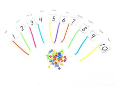 Number and color bead matching flags, fine motor skills