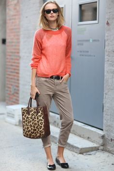 Fashion Week Street Style - Easy separates in perfect proportion, with a pop of color and print.