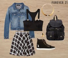 Outfit by Forever 21. Except for the fact that the top shows skin of the midriff, the outfit would be cute for school.
