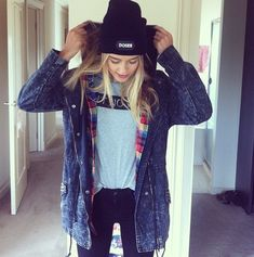 layers - denim, flannel and white tee