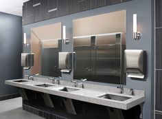 Public Bathroom Sink commercial restroom design ideas | featuring sloping sinks warm
