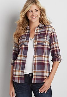 button down flannel shirt | maurices