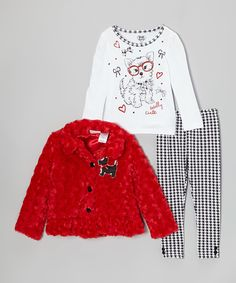 Love this Red Scottie Dog Faux Fur Jacket Set - Girls by Young Hearts on #zulily! #zulilyfinds