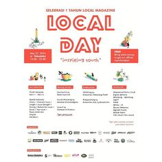 . Local Magazine present:  Selebrasi 1 Tahun Local Magazine LOCAL DAY 'Inspiring Youth'  1. Local Exhibition 2. Sharing Session; Journalism by Imam Supriono as a Editor Social Branding by Ananda Purwanegara as a Editor Layouting by Pambudi A Prakoso as a Layout. 3. Communities by Komunitas Semarang Coret (Lettering & Free Blank Sticker) & Full of Doodle Art (Bodypainting) 4. Musikustik by: Ambulance Panic Voice Figura Renata Rentjang-Rentjong Legit! Mere Rendy-o Racau Kemarau Offside Mouth…